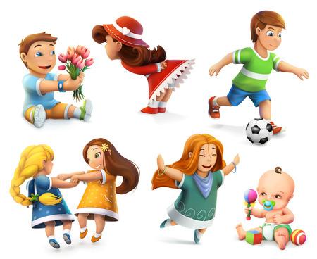 tanzen cartoon: Kinder. Kleine Mädchen und Jungen. Set von Vektor-Icons