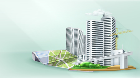 city building: City building background, vector illustration