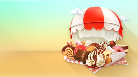 whipped cream: Coffee and pastry shop, confectionery vector background