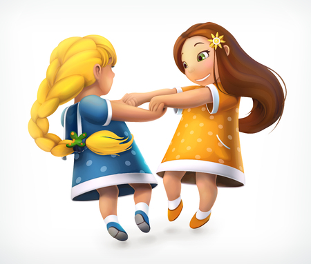 Dancing children. Little girls. Vector icon