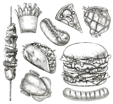 fried chicken: Fast food, sketches, hand drawing, vector set Illustration