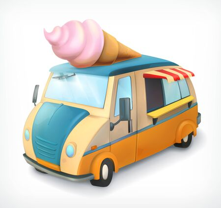 ice cream cartoon: Ice cream truck, vector icon