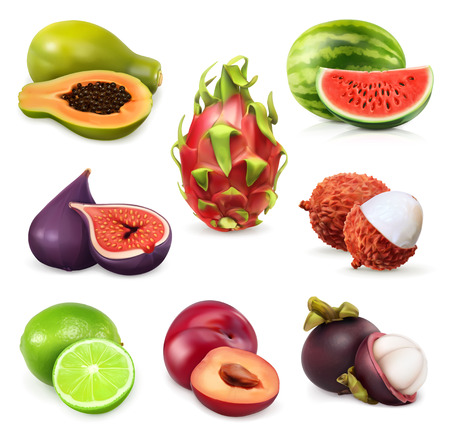 lychee: Juicy ripe sweet fruits. Vector icon set