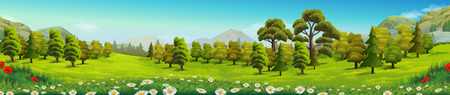 scenics: Meadow and forest, nature landscape, vector background