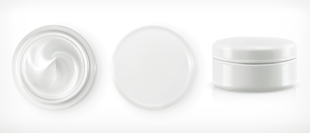 Round packaging of cream, vector object Vectores