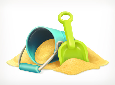 sand beach: Shovel and bucket in the sand, toys vector icon Illustration