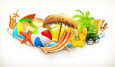 Ilustración conjunto de vectores playa de verano Foto de archivo - 55857892