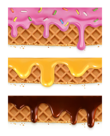 mead: Waffles chocolate, honey, glaze, vector seamless horizontal patterns Illustration