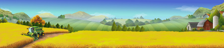 harvester: Wheat field, rural landscape, vector background