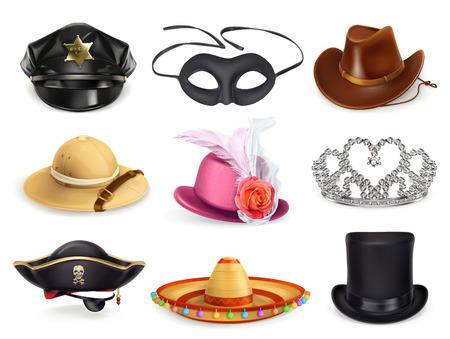 headgear: Hats set, collection of headgear, vector icons