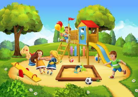 niños en area de juegos: Parque, parque infantil vector ilustración de fondo