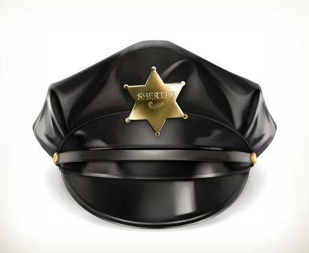 peaked cap: Peaked cap, vector icon on white background