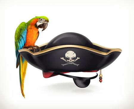 Piraat hoed, vector pictogram op witte achtergrond Stock Illustratie