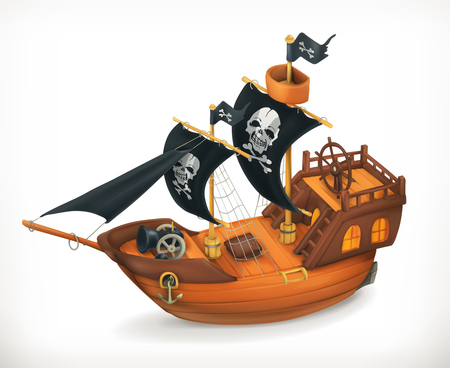 caribbean cruise: Pirate ship, vector icon, on white background
