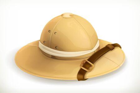 médula: casco de explorador, icono del vector, en el fondo blanco