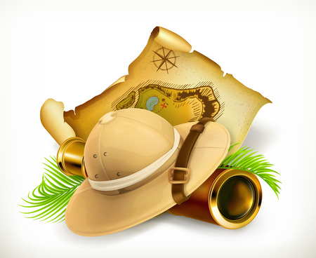 safari cartoon: Pith helmet. Treasure map. Adventure vector icon,  on white background