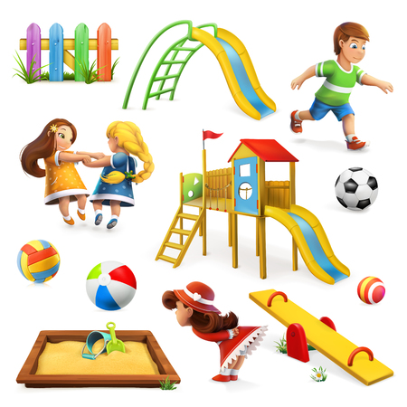kid cartoon: Playground, vector icon set,  on white background