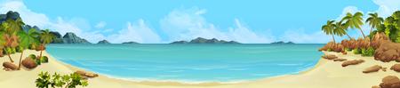 Sea panorama. Bay tropical beach. Vector background