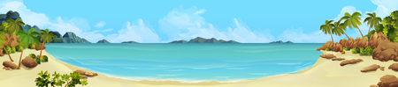 Sea panorama. Bay tropical beach. Vector background