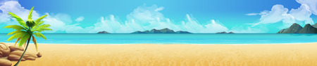 Sea panorama. Tropical beach Vector background Illustration