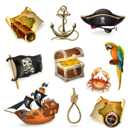 guacamaya caricatura: piratas del mar, conjunto de iconos vectoriales en el fondo blanco Vectores