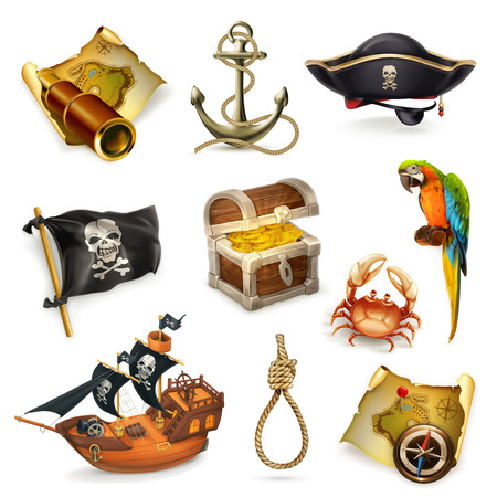 Sea pirates, vector icon set  on white background Illusztráció