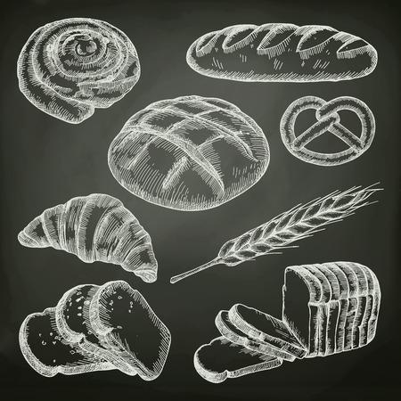 빵, 칠판 벡터 설정 스케치 일러스트