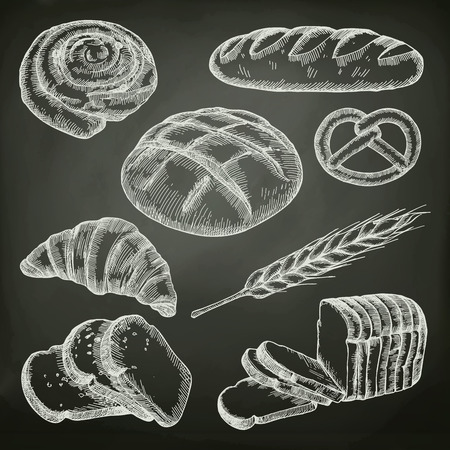 Bread, sketches on the chalkboard vector set 免版税图像 - 58605933