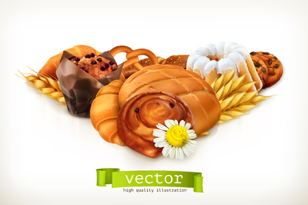french countryside: Bread, vector illustration isolated on white
