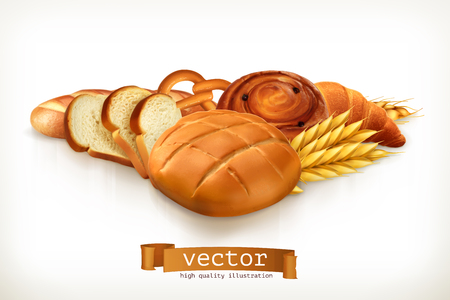 white bread: Bread, vector illustration isolated on white