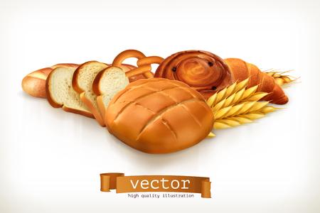 Chleb, ilustracji wektorowych samodzielnie na białym tle Ilustracje wektorowe