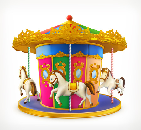 amusement park background: Carousel, vector icon