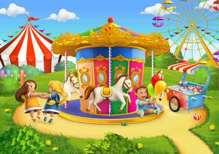 amusement park rides: Park, playground vector background