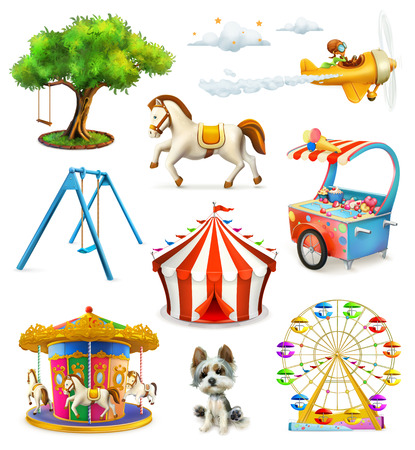 carousel horse: Children playground, vector icons set