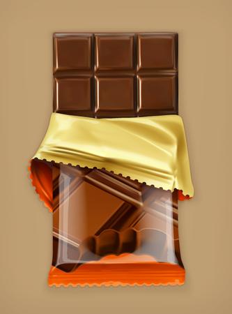 Barra de chocolate, objeto vectorial Ilustración de vector