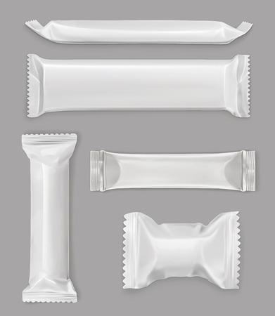 pacchetto di polietilene bianco, barra di cioccolato, insieme vettoriale mockup