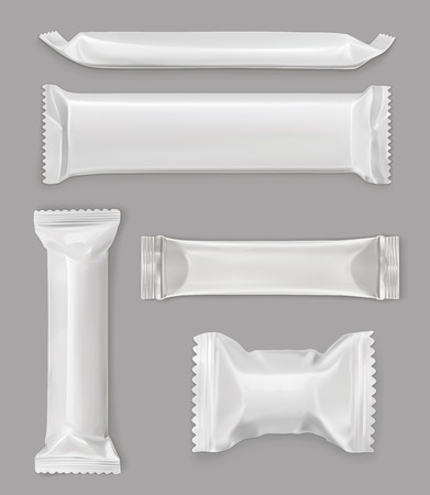 White polyethylene package, chocolate bar, vector mockup set Vectores