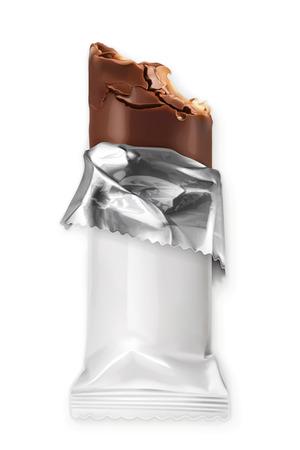 Chocolate bar, white polyethylene wrap, vector object