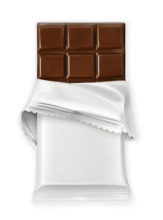 Chocolate bar, white polyethylene wrap, vector object Banco de Imagens - 58605957