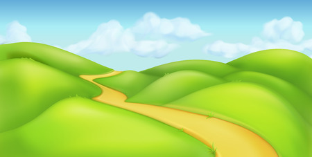 green road: Green landscape, vector background