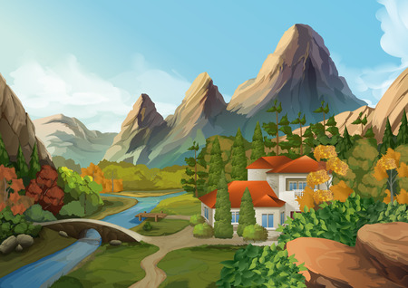 Huis in de bergen, natuur, landschap, vector achtergrond
