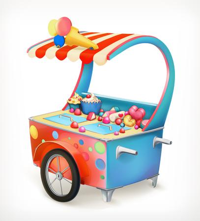Ice cream trolley, vector icon