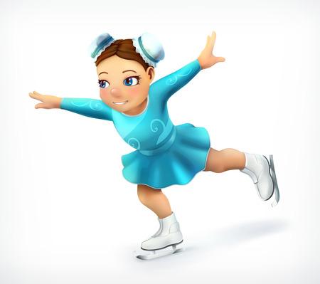 diversion: Pequeña figura patinador, icono del vector Vectores