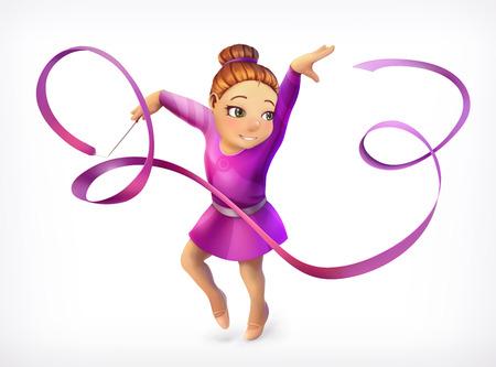 flexible girl: Little gymnast, vector icon Illustration