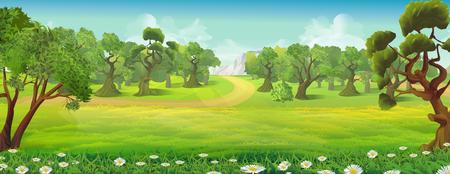 초원 및 포리스트 자연 풍경, 벡터 배경 일러스트