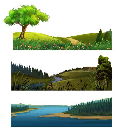 green grass: Nature landscape, vector set