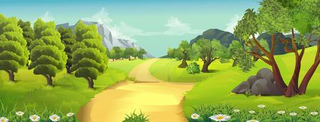 자연 풍경, 시골도, 벡터 배경 일러스트
