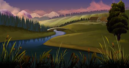 green forest: Nature, landscape river evening, vector background Illustration
