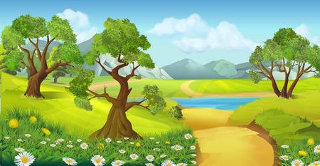 Natuur, landschap, vector achtergrond Stock Illustratie
