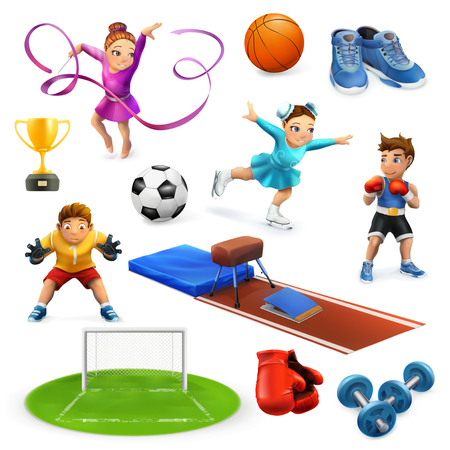 Sport, athletes and equipment vector icons set